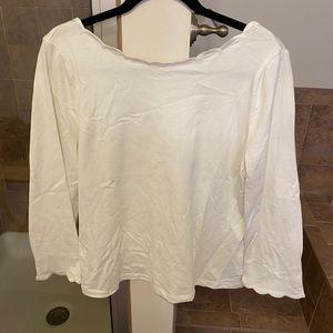 Kate Spade white scalloped T-shirt